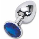 47018 Анальная пробка серебро со вставокй синий страз
